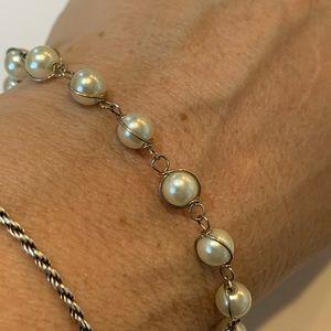 💐5/25 dainty wire wrap faux pearl 7 inch bracelet